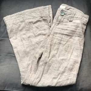 Free People Brown Linen Wide Leg Trouser